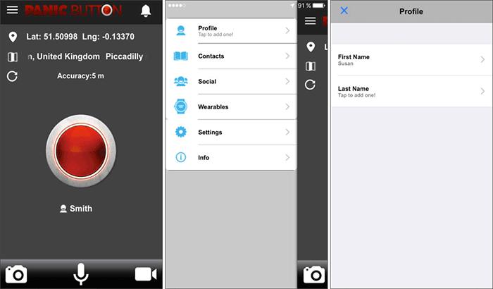 Red Panic Button Emergency SOS iPhone App Screenshot