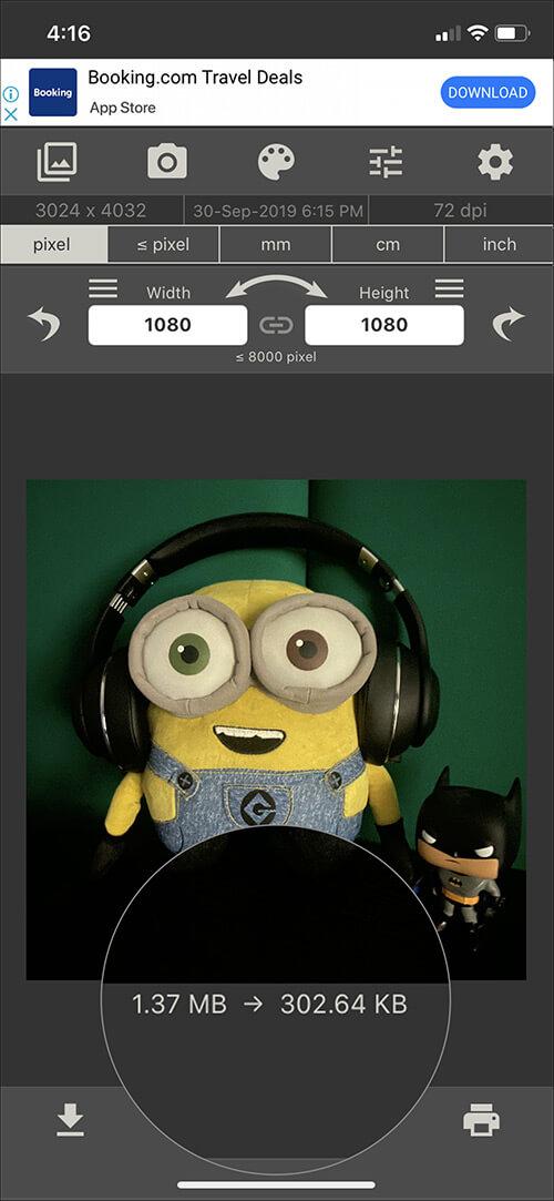 Reduce the photo file size using iOS Image Size app
