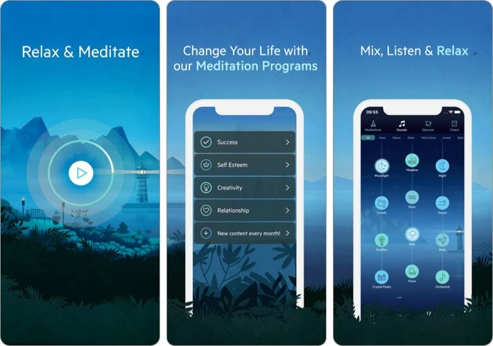 Relax Meditation iPhone and iPad App Screenshot