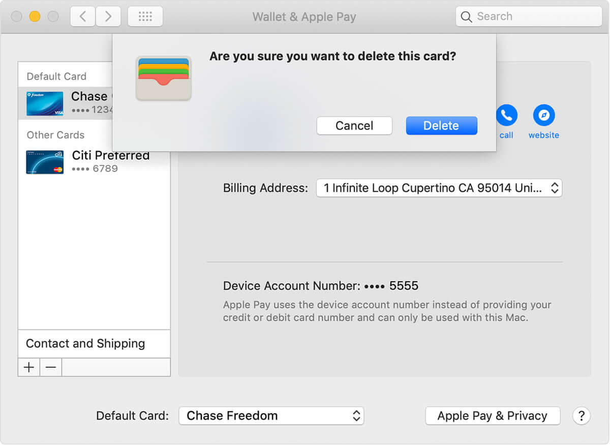 Remove Debit and Credit Cards from Apple Pay on Mac