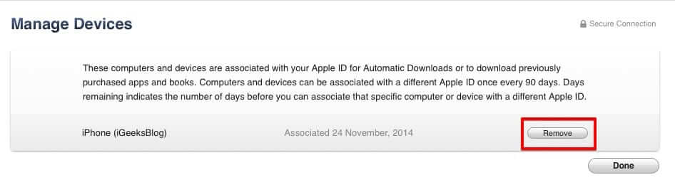 Remove Devices from iTunes