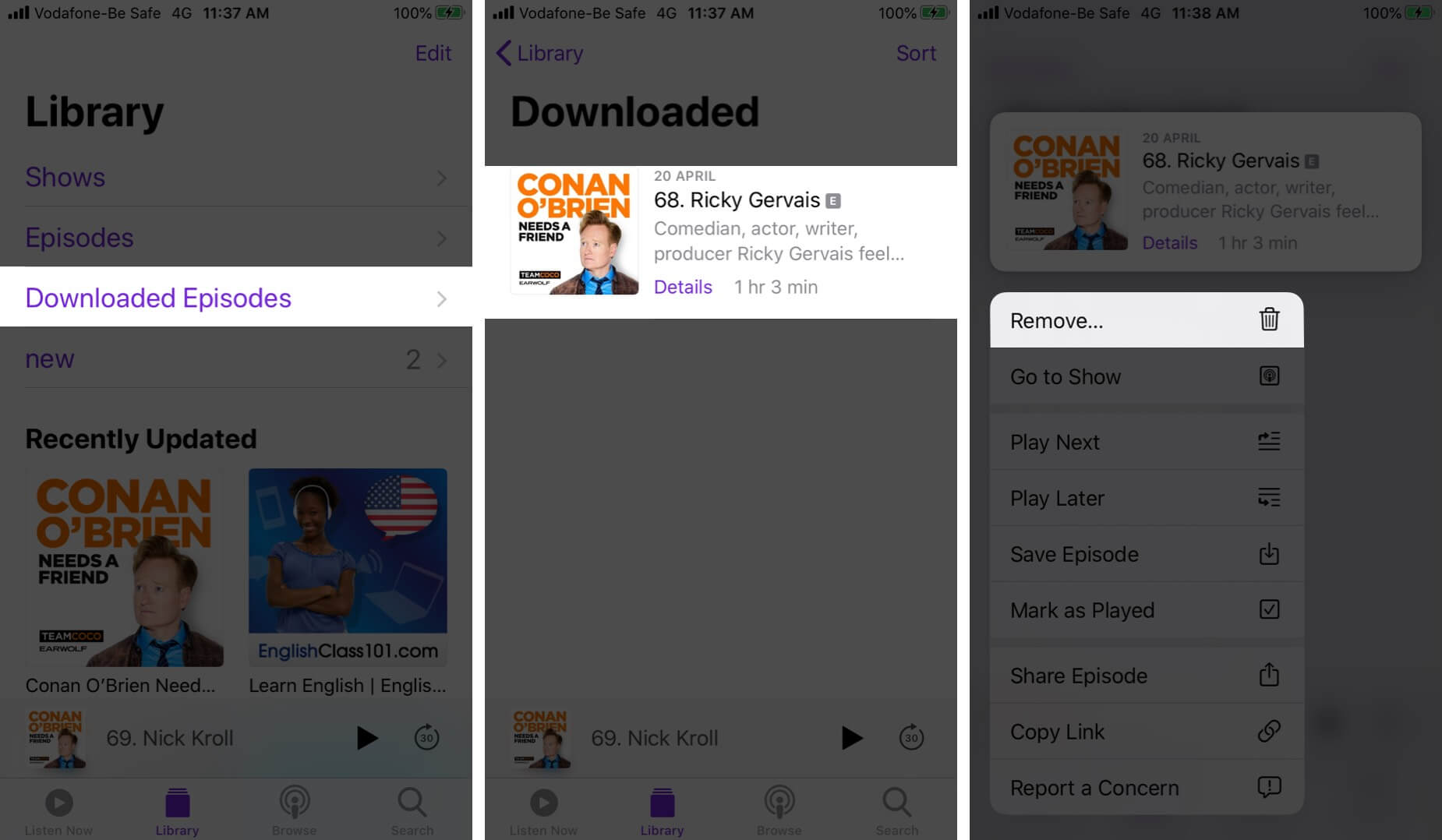 Remove Downloaded Podcast Episodes in Podcasts App on iPhone