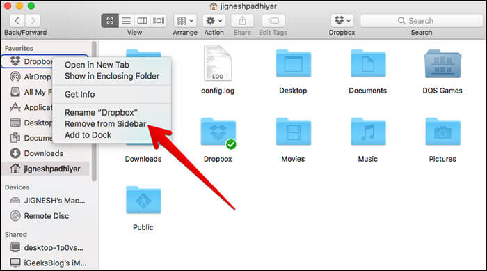 Remove Dropbox From Finder Sidebar on Mac