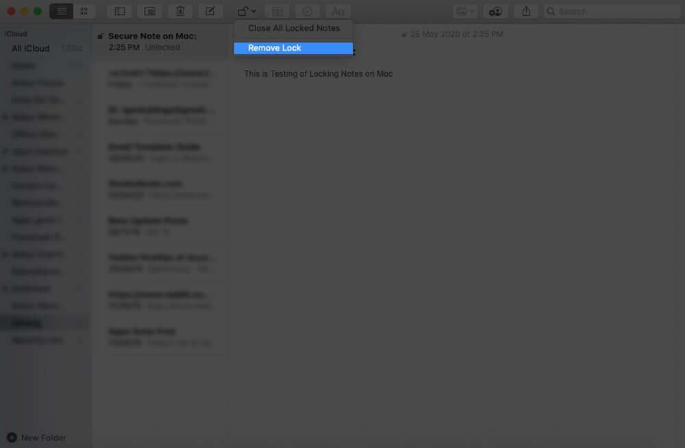 Remove Lock from a Note on Mac
