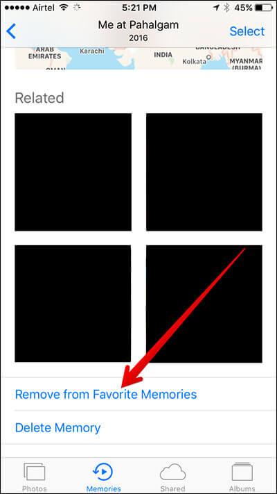 Remove Memory Slideshow as Favorite in iOS 10