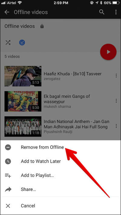 Remove Offline YouTube Video from iPhone