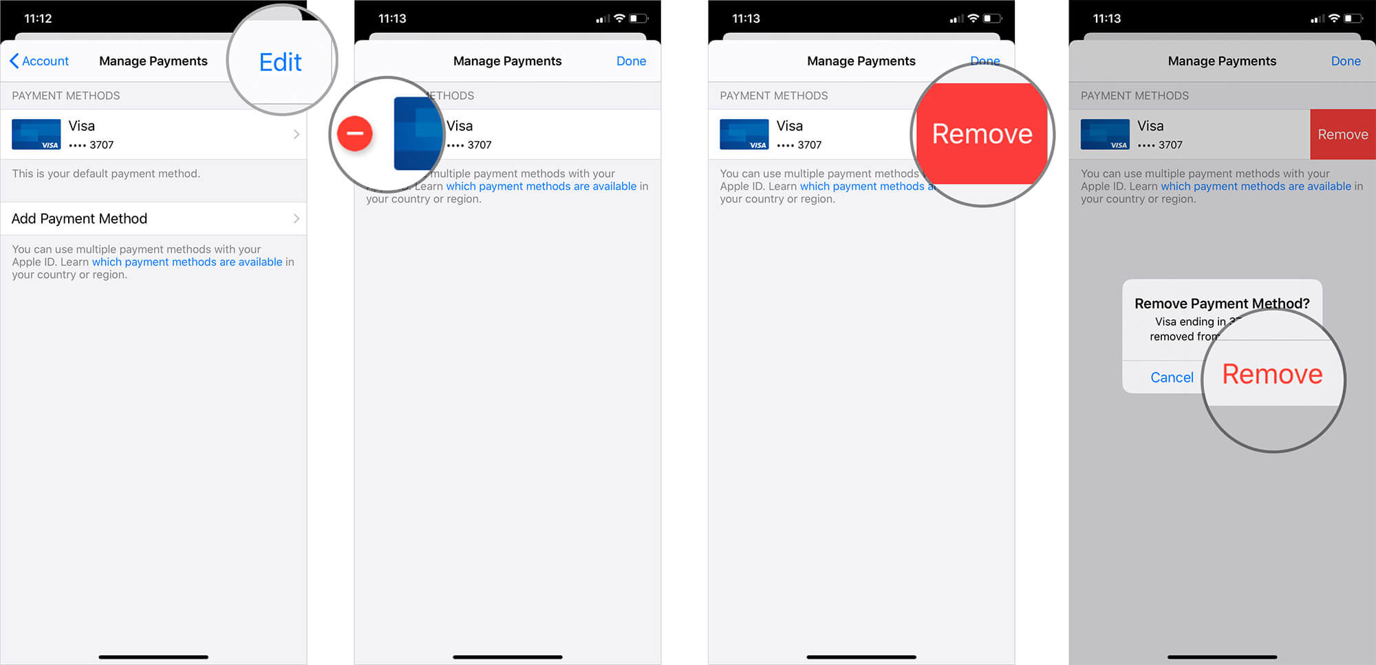 Remove Payment Method from App Store on iPhone