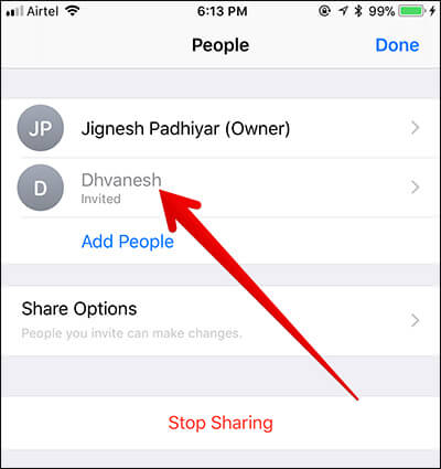Remove People from Accessing Shared Document in Files App