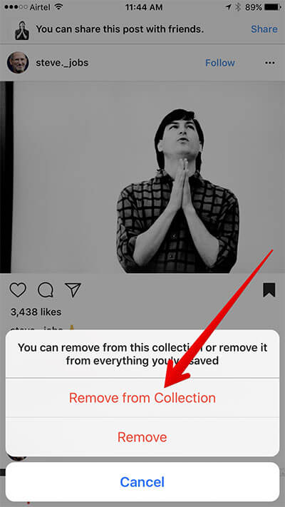 Remove Photo from Instagram Collection on iPhone
