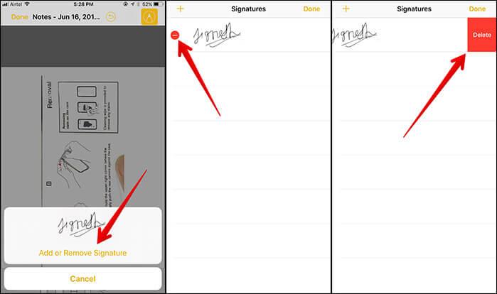Remove Signature in iOS 11 on iPhone or iPad