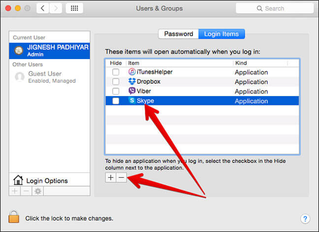 Remove Skype from Startup Apps on Mac