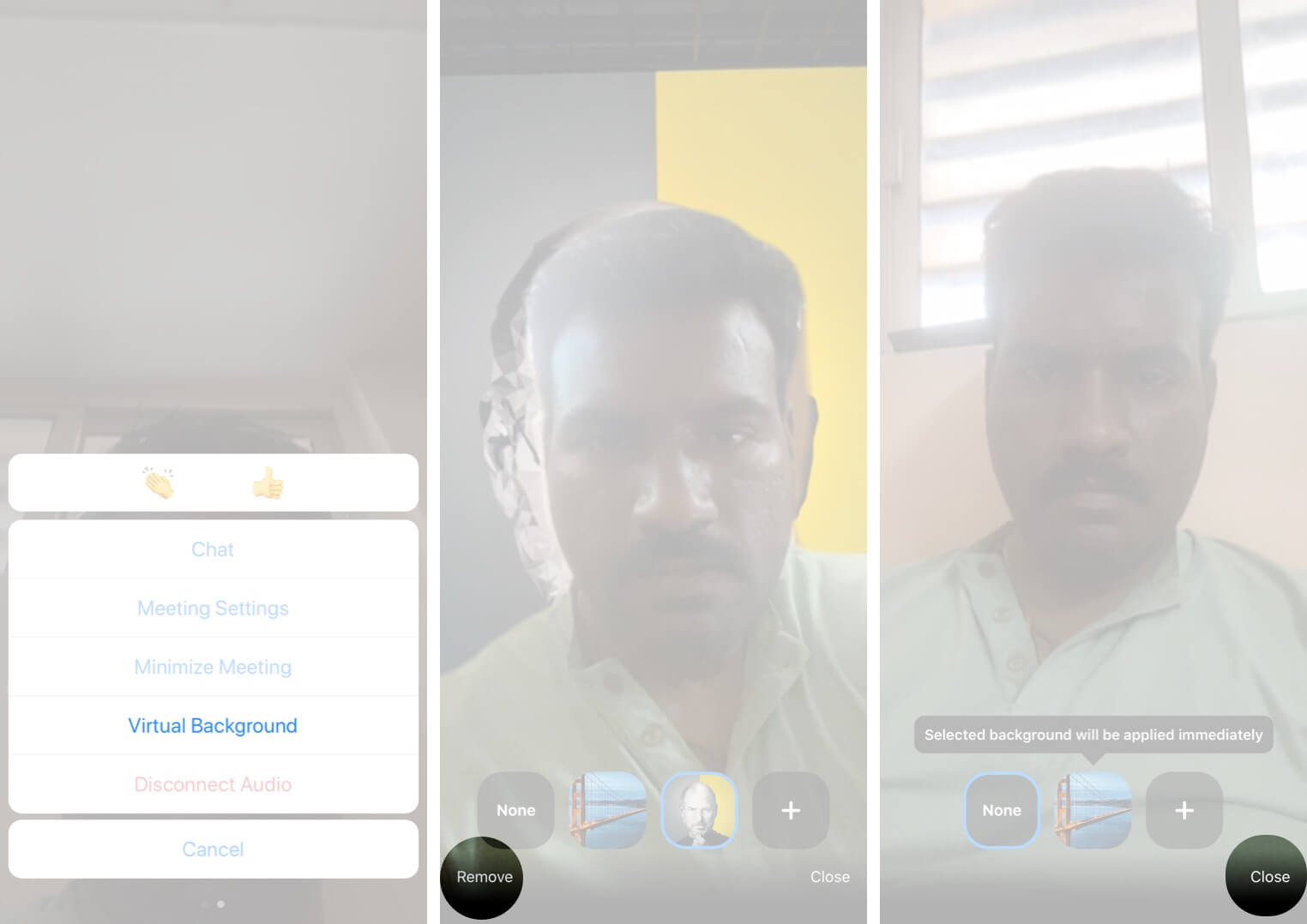 Remove Virtual Background in Zoom App on iPhone