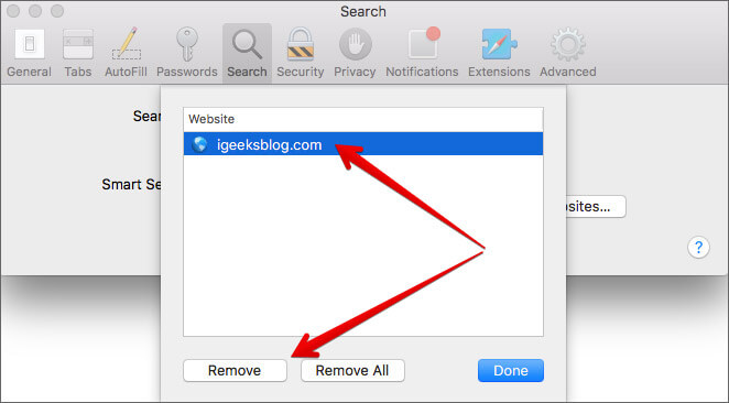 Remove Website Shortcut in Safari on Mac