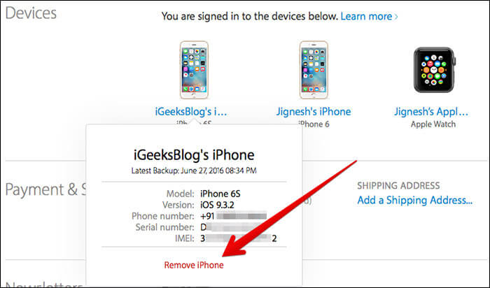 Remove iPhone or iPad from Apple ID
