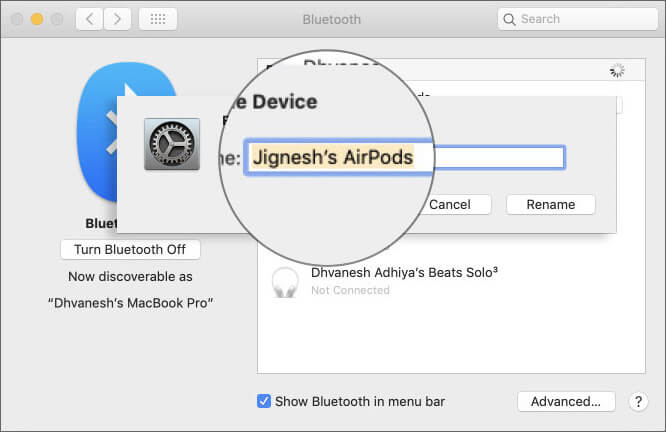 Rename AirPods On Mac