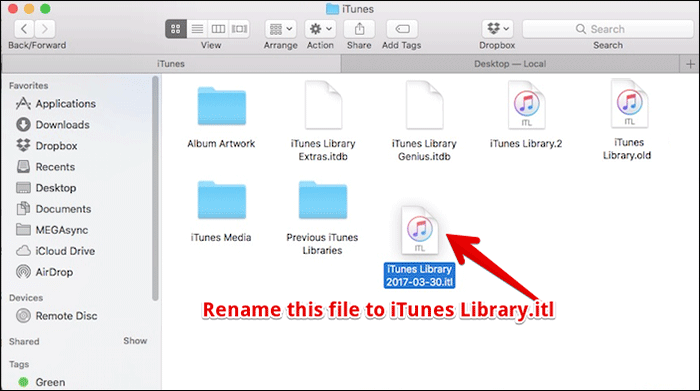 Rename Moved File to iTunes Library.itl on Mac