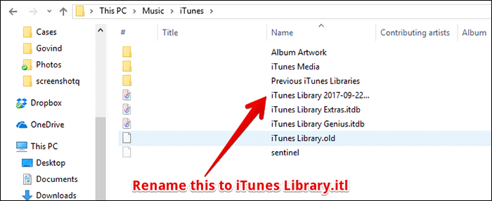 Rename Old Library to iTunes Library.itl on Windows PC