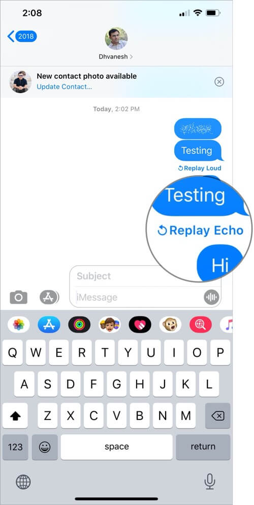 Replay Screen Effect in iMessage