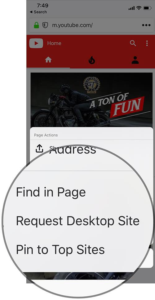 Request Desktop Website in Firefox on iPhone or iPad