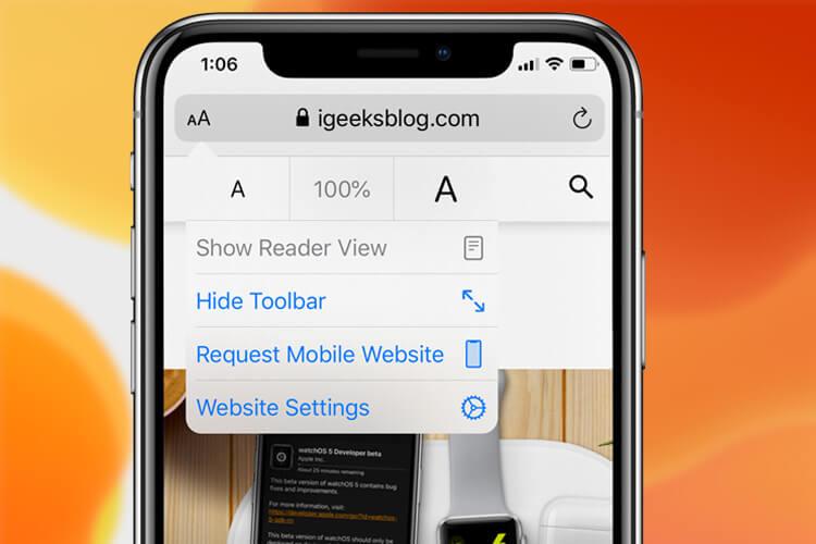 Request Mobile Site in iOS 13 Safari