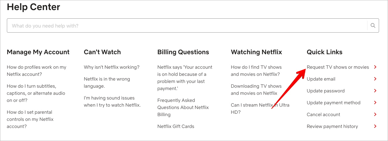 Request Movie or TV Show on Netflix