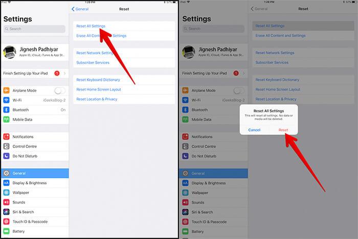 Reset All Settings on iPad in iOS 11