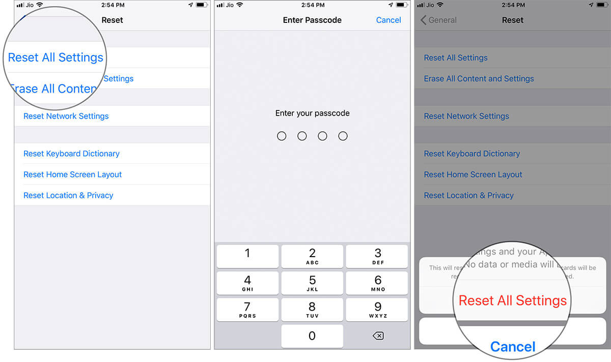 Reset All Settings on iPhone running iOS 12