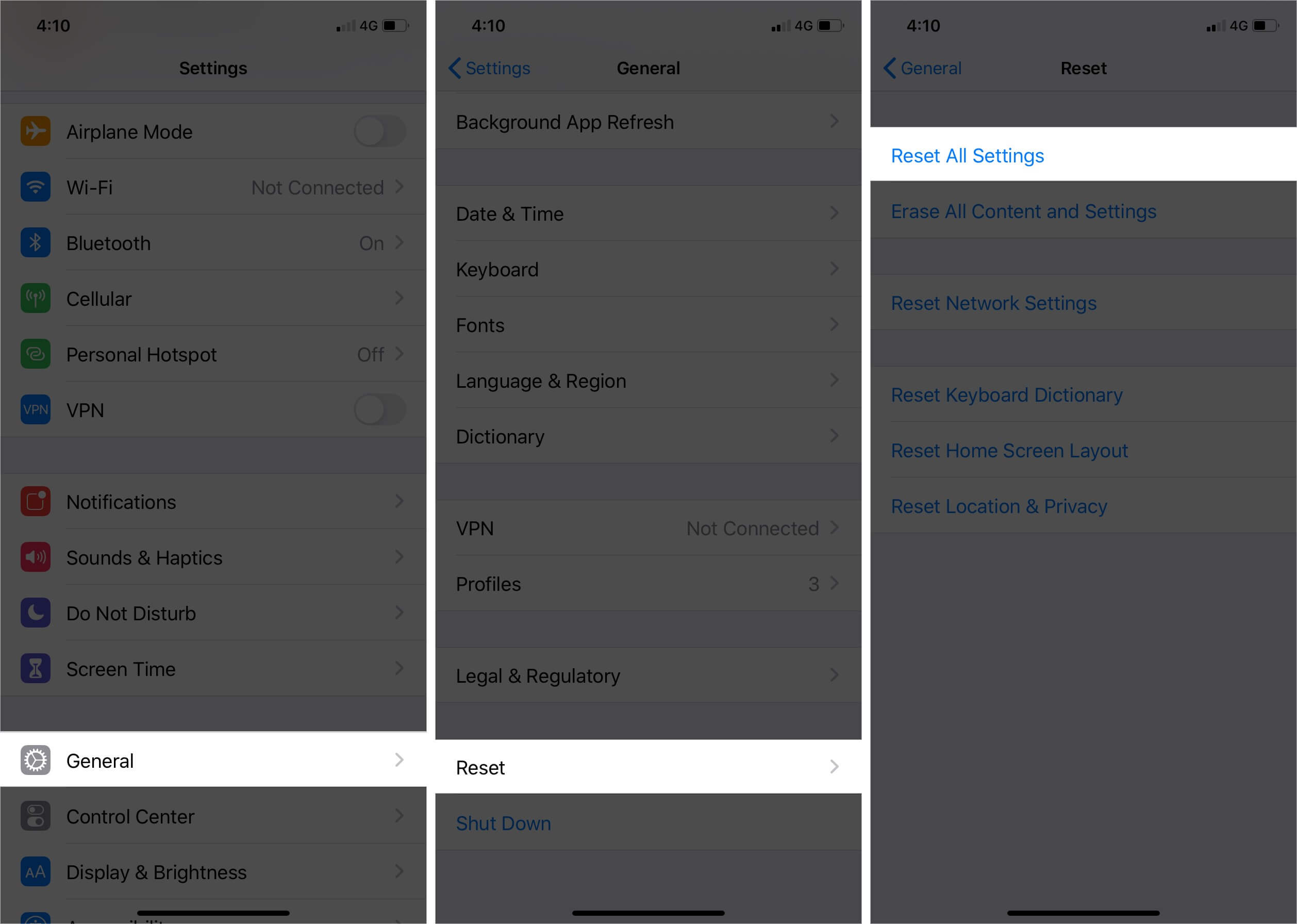 Reset All Settings on iPhone