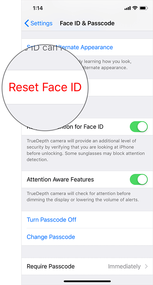 Reset Face ID on iPhone X, Xs, Xs Max, or iPhone XR