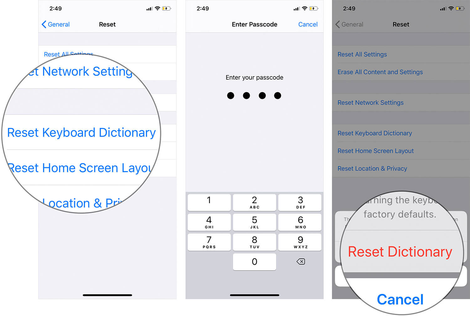 Reset Keyboard Dictionary on iPhone or iPad
