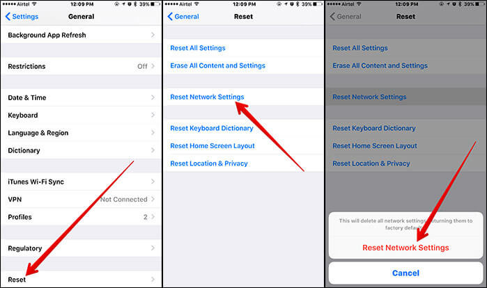 Reset Network Settings in iOS 10 on iPhone