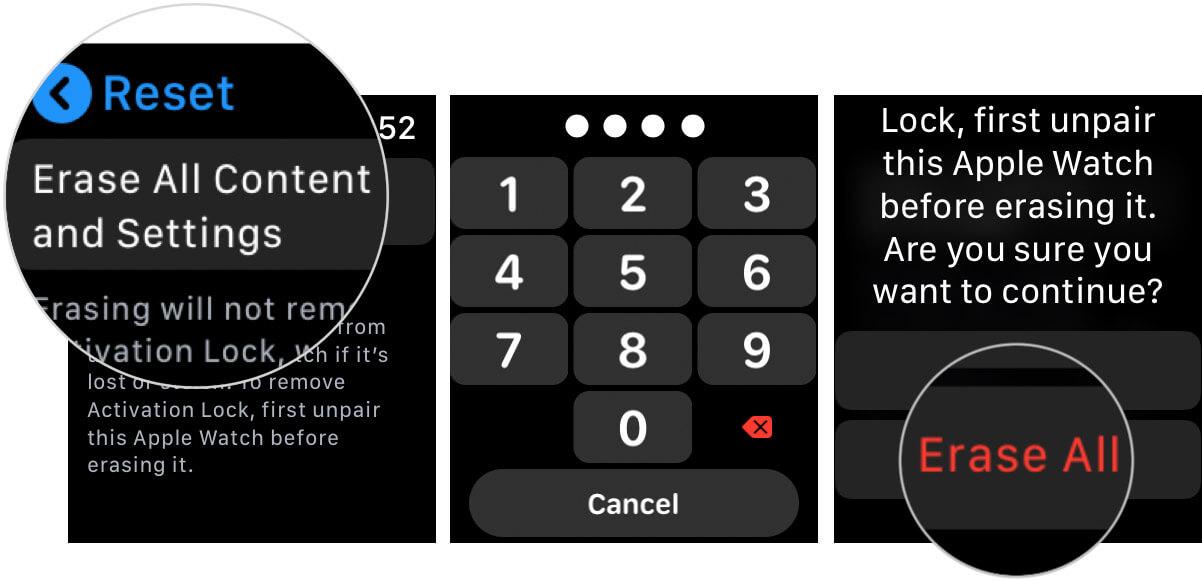 Reset and Unpair Apple Watch