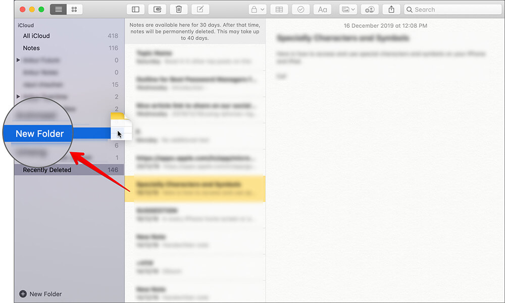 Restore Deleted Note on Mac with Notes App