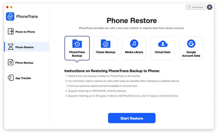 Restoring PhoneTrans Backup to Your iPhone