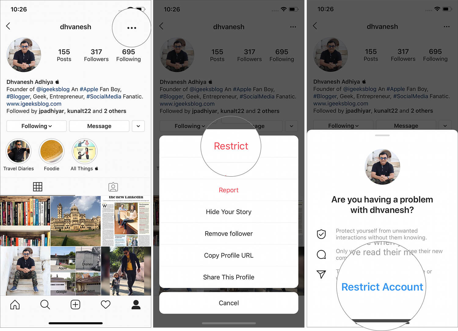 Restrict an Account in Instagram app on iPhone