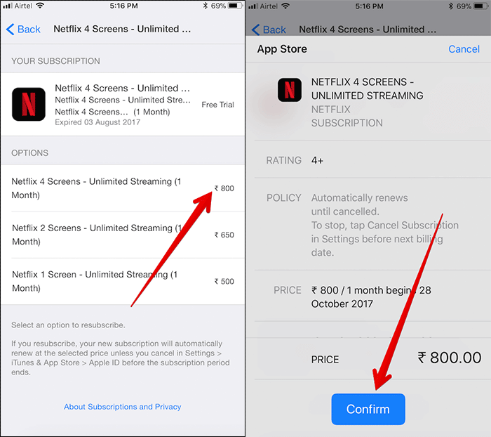 Resubscribe App Store Subscription on iPhone and iPad