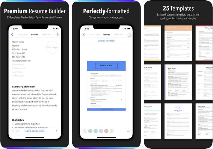 Resume Builder by Nobody iPhone and iPad App