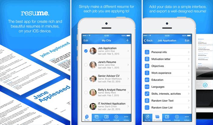 Resume Maker – Pro CV Designer iPhone and iPad App