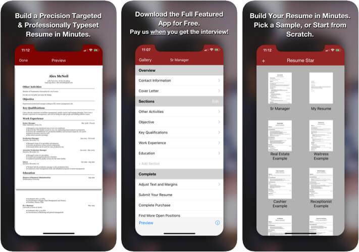Resume Star Pro CV Maker iPhone and iPad App