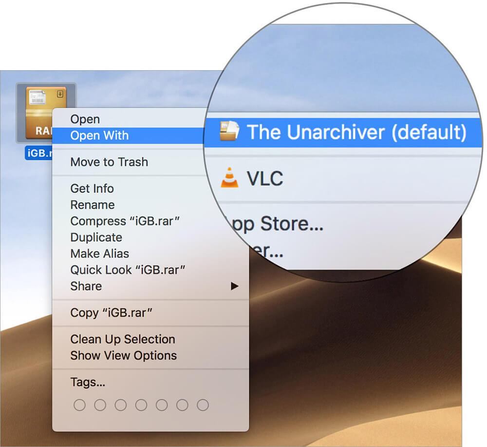 Right click on RAR file to Extract RAR Files on Mac
