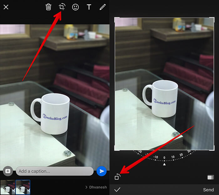 Roate or Crop Photo in WhatsApp on iPhone