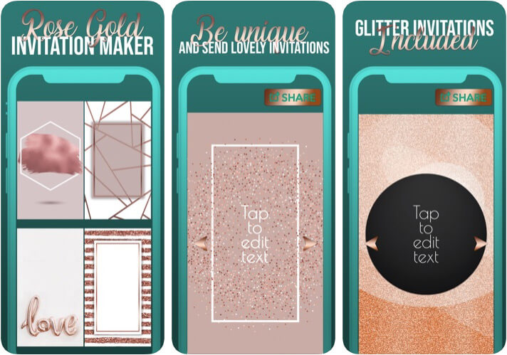 Rose Gold Invitation Maker iPhone and iPad App Screenshot
