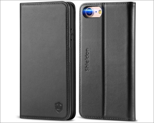SHIELDON Genuine Leather Kickstand Case for iPhone SE 2020