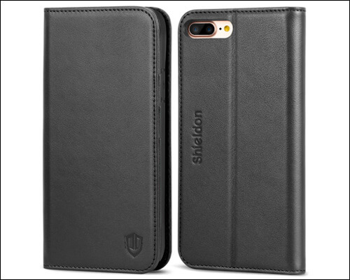SHIELDON Genuine Leather Wallet Case for iPhone 7 Plus