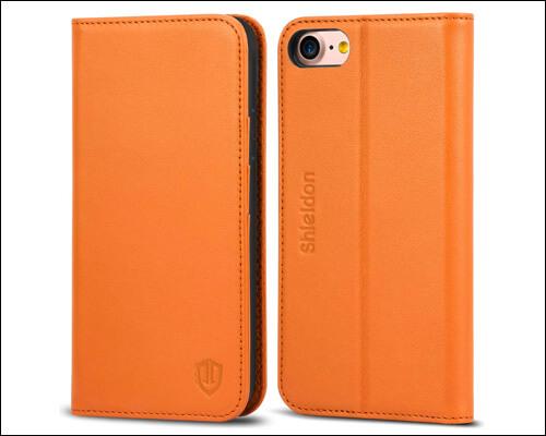 SHIELDON Leather Folio Case for iPhone 8
