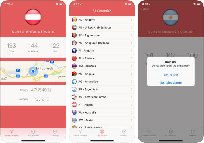 SOS Global Emergency Numbers iPhone App Screenshot