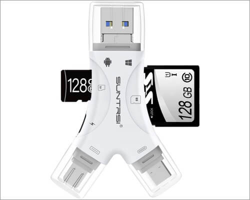 SUNTRSI 4-in-1 micro SD card reader for iPhone and iPad