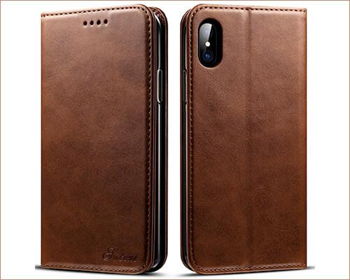 SUTENI iPhone X Leather Wallet Case