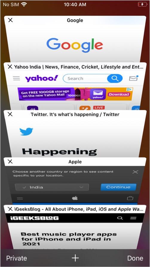 Safari's tab switcher interface on iPhone