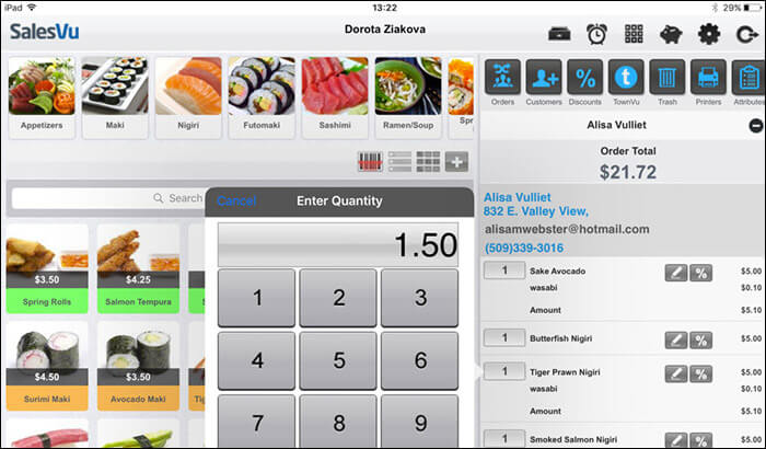 SalesVu iPhone and iPad POS App Screenshot
